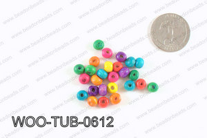 Tube Wood Beads Multicolor 6x4mm WOO-TUB-0612