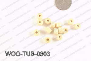 Tube Wood Beads Beige 6x8mm WOO-TUB-0803