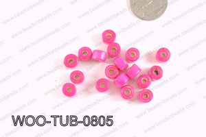 Tube Wood Beads Hot Pink 6x8mm WOO-TUB-0805