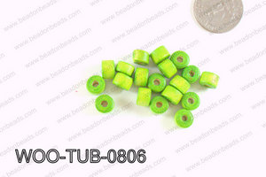 Tube Wood Beads Green 6x8mm WOO-TUB-0806