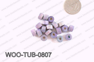 Tube Wood Beads Blue Blue 6x8mm WOO-TUB-0807