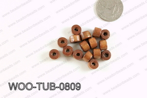 Tube Wood Beads Brown 6x8mm WOO-TUB-0809