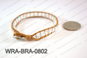 Wrapped Bracelet Clear AB 8inches long, 10mm wide WRA-SIN-0802