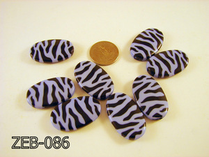 Zebra Bead Oval 22x36mm  ( Lavender Gray / Black ) ZEB-086