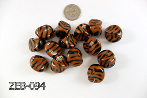 Zebra Bead Nugget  18x22mm ZEB-094