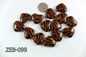 Zebra Bead Heart 23x26mm ZEB-099