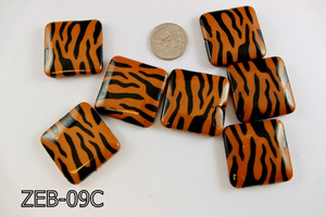 Zebra Bead Square  35mm ZEB-09C