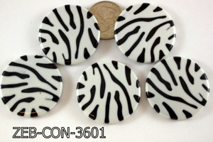Zebra Bead Coin 36mm 500 Gram Bag Black/White ZEB-CON-3601