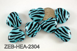 Zebra Bead Heart 23x26mm 500 Gram Bag ZEB-HEA-2304