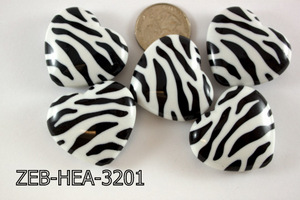 Zebra Bead Heart 32x36mm 500 Gram Bag Black/White ZEB-HEA-3201