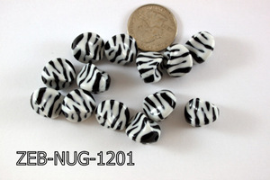 Zebra Bead Nugget 12x15mm 500 Gram Bag Black/White ZEB-NUG-1201