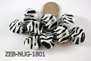 Zebra Bead Nugget 18x22mm 500 Gram Bag Black/White ZEB-NUG-1801