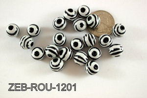 Zebra Bead Round 12mm 250 Gram Bag Black/White ZEB-ROU-1201