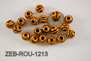 Zebra Bead Round 12mm 250 Gram Bag ZEB-ROU-1213