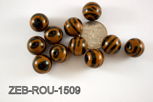 Zebra Bead Round 15mm 500 Gram Bag ZEB-ROU-1509