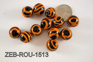Zebra Bead Round 15mm 500 Gram Bag ZEB-ROU-1513