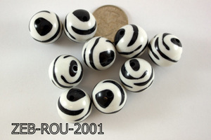 Zebra Bead Round 20mm 500 Gram Bag Black/White ZEB-ROU-2001