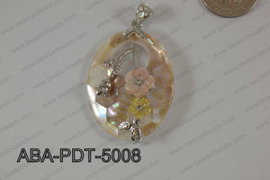 Abalone Pendant Pink Lip Oval with flower 35x50mm ABA-PDT-5008
