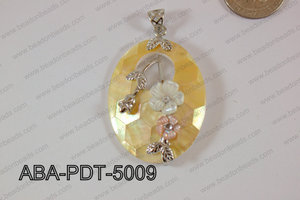 Abalone Pendant Yellow Lip Oval with flower 35x50mm ABA-PDT-5009
