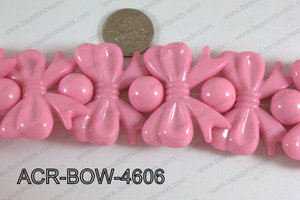 Acrylic Gum Ball And Bow Pink 46mm ACR-BOW-4606
