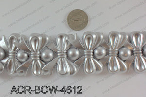 Acrylic Bow and Round Silver 46mm  ACR-BOW-4612
