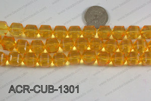 Acrylic Cube Faceted Yellow 13mm ACR-CUB-1301