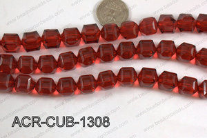 Acrylic Cube Faceted Red 13mm ACR-CUB-1308