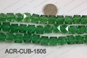 Acrylic Cube Pointed Surface Green 15mm ACR-CUB-1505