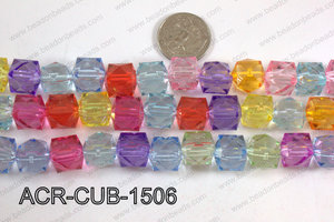 Acrylic Cube Pointed Surface Multicolor 15mm ACR-CUB-1506