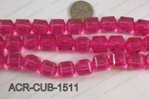 Acrylic Cube Plat Surface Hot Pink 15mm ACR-CUB-1511