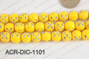 Acrylic Dice Round 11mm yellow ACR-DIC-1101