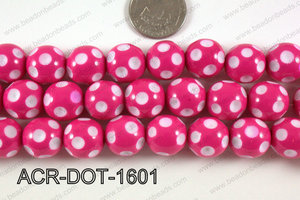 Acrylic Dotted Round Hot Pink 16mm ACR-DOT-1601