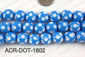 Acrylic Dotted Round Blue 16mm ACR-DOT-1602