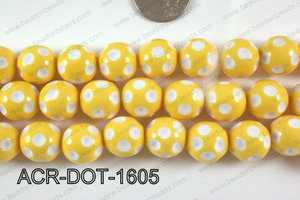 Acrylic Dotted Round Yellow 16mm ACR-DOT-1605