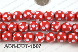 Acrylic Dotted Round Red 16mm ACR-DOT-1607
