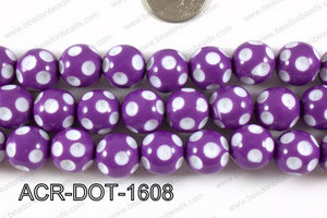 Acrylic Dotted Round Purple 16mm ACR-DOT-1608
