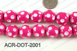 Acrylic Dotted Round Hot Pink 20mm ACR-DOT-2001