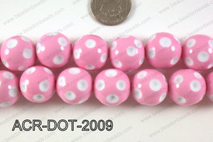 Acrylic Dotted Round Light Pink 20mm ACR-DOT-2009