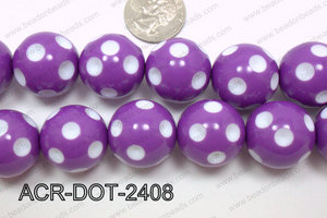 Acrylic Dotted Round  Purple 24mm ACR-DOT-2408