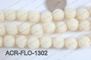 Acrylic Flower carved Round 11mm cream ACR-FLO-1302
