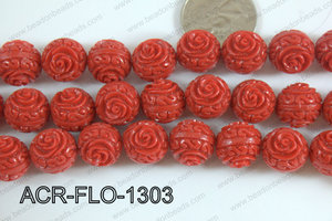 Acrylic Flower carved Round 11mm Red ACR-FLO-1303