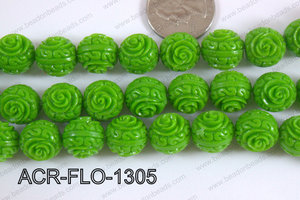 Acrylic Flower carved Round 11mm green ACR-FLO-1305