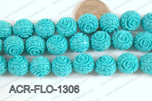 Acrylic Flower carved Round 11mm light blue ACR-FLO-1306