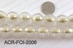 Acrylic Foil Faceted Round Gold 20mm ACR-FOI-2006