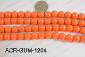 Acrylic Gumball beads orange 12mm ACR-GUM-1204