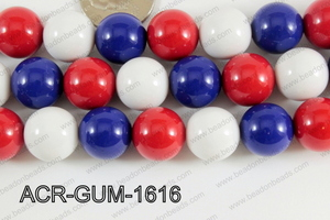 Acrylic Gumball 16mm white/blue/red  ACR-GUM-1616