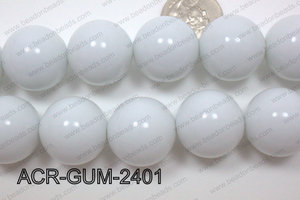 Acrylic Gumball Round White 24mm ACR-GUM-2401