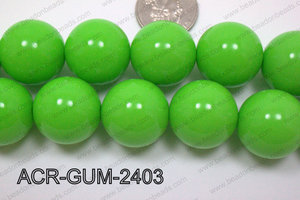 Acrylic Gumball Round Lime Green 24mm ACR-GUM-2403