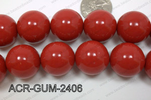 Acrylic Gumball Round Red 24mm ACR-GUM-2406