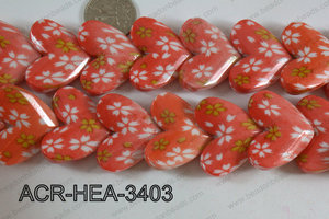 Acrylic Heart Orange 34x26mm ACR-HEA-3403